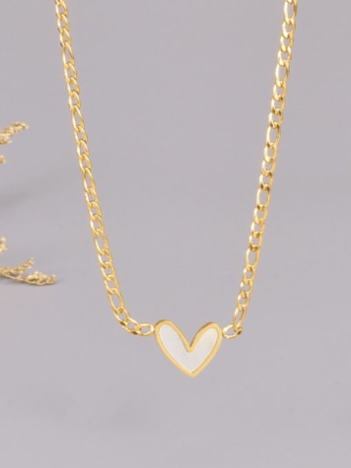 A TEEM Titanium Steel Shell Heart Minimalist Necklace 0