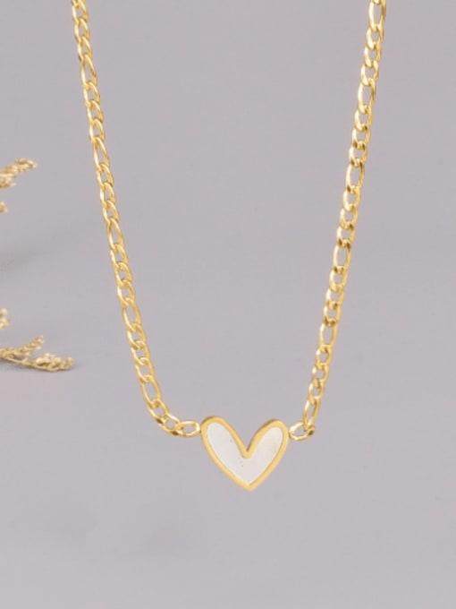 A TEEM Titanium Steel Shell Heart Minimalist Necklace