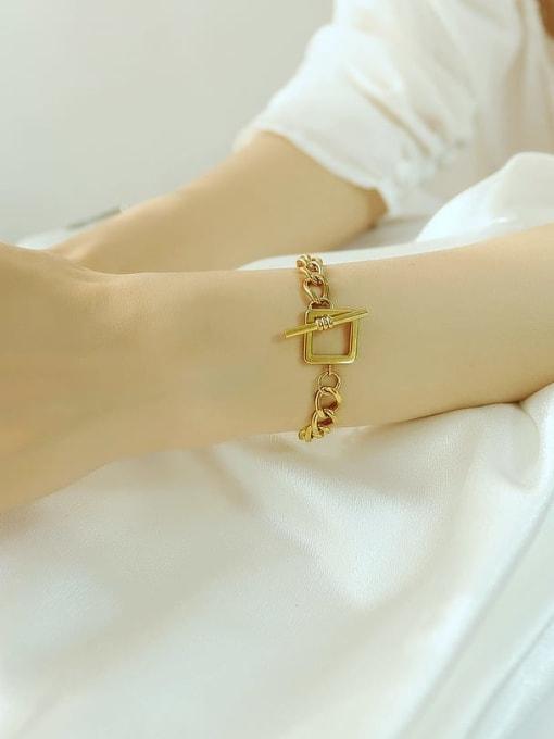 Open Sky Titanium Steel Hollow Geometric Chain Vintage Link Bracelet 1