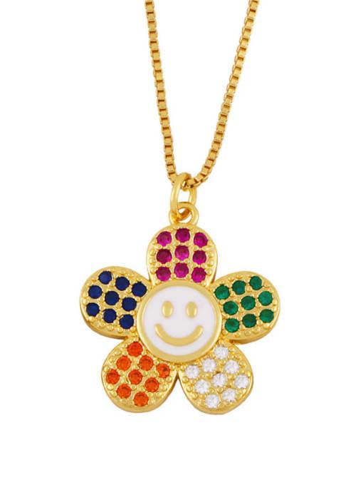 CC Brass Cubic Zirconia Smiley Flower  Minimalist Necklace