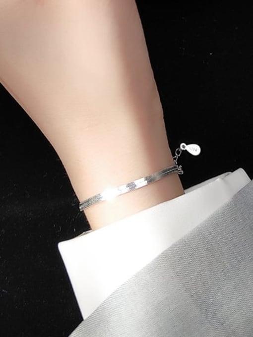 Rosh 925 Sterling Silver Minimalist Flat snake bone chain bracelet  Link Bracelet 2