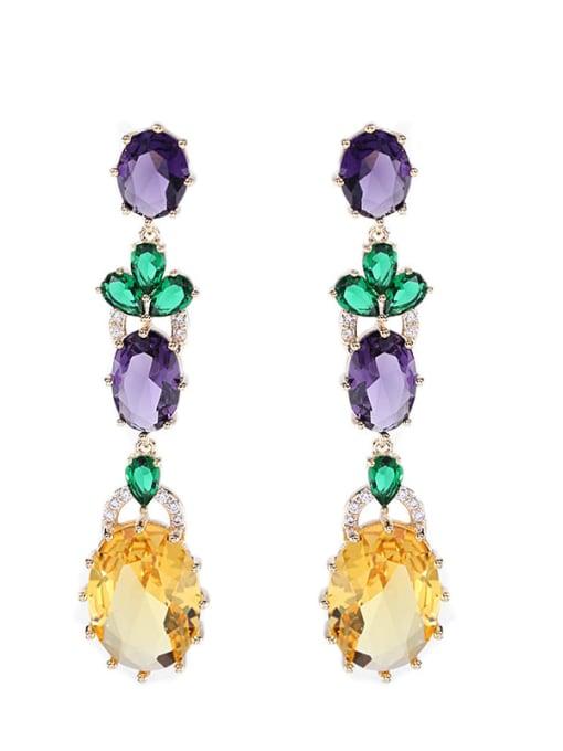 Luxu Brass Cubic Zirconia Flower Ethnic Drop Earring 3