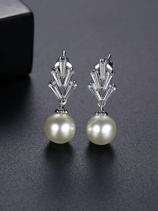 Platinum t06i02 Brass Cubic Zirconia Flower Minimalist Drop Earring