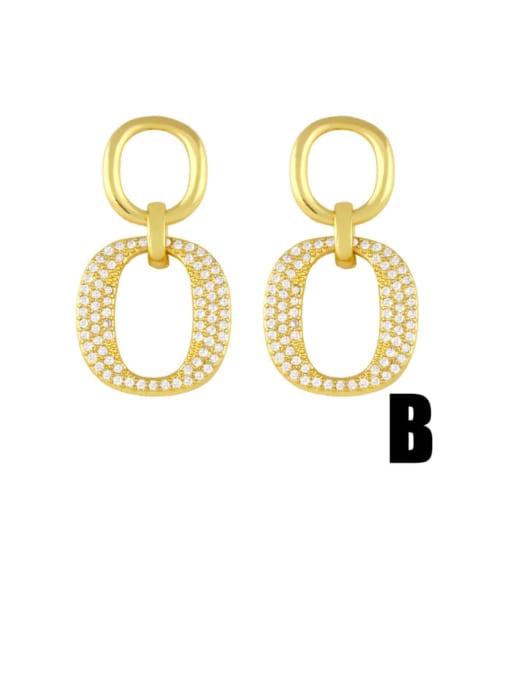 B Brass Cubic Zirconia Geometric Vintage Drop Earring