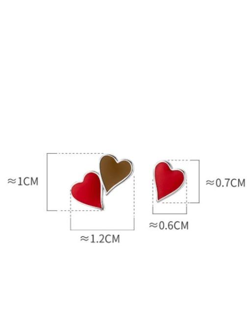 Rosh 925 Sterling Silver Enamel Heart Minimalist Stud Earring 4
