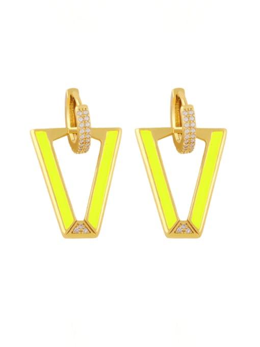 yellow Brass Enamel Triangle Hip Hop Stud Earring