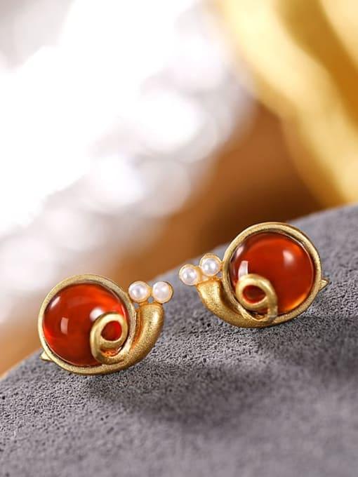 DEER 925 Sterling Silver Garnet Insect Vintage  snails Stud Earring 0
