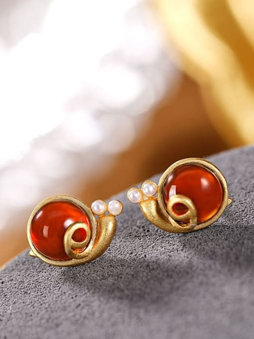 DEER 925 Sterling Silver Garnet Insect Vintage  snails Stud Earring