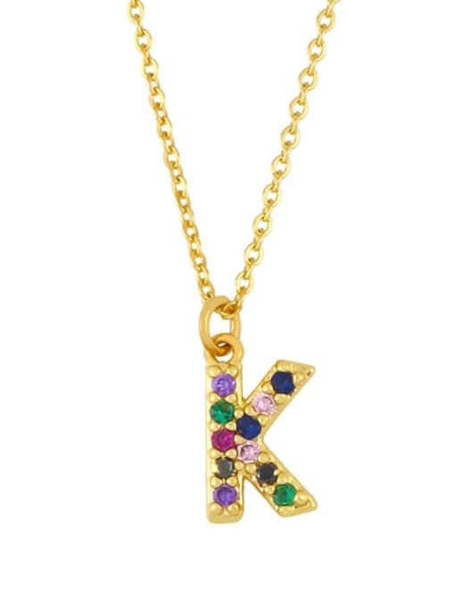 K Brass Cubic Zirconia Letter Vintage Necklace