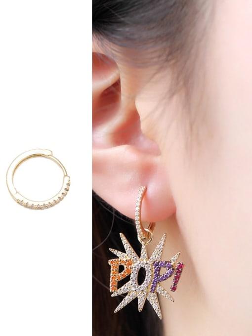 Luxu Brass Cubic Zirconia Letter Ethnic Huggie Earring 1