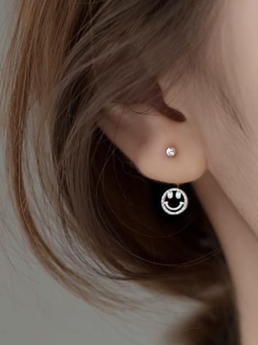Rosh 925 Sterling Silver Smiley Cute Stud Earring 2