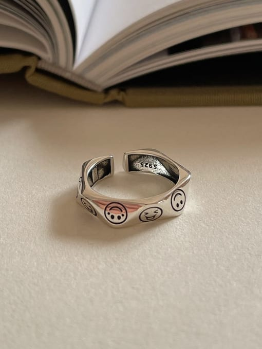 Expression ring j1592  3.4g 925 Sterling Silver Hollow Irregular Vintage Band Ring
