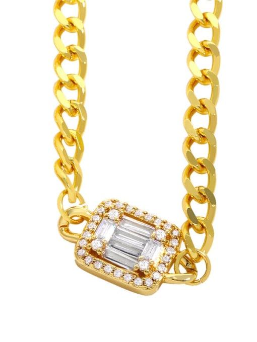 white Brass Cubic Zirconia Geometric Vintage Necklace