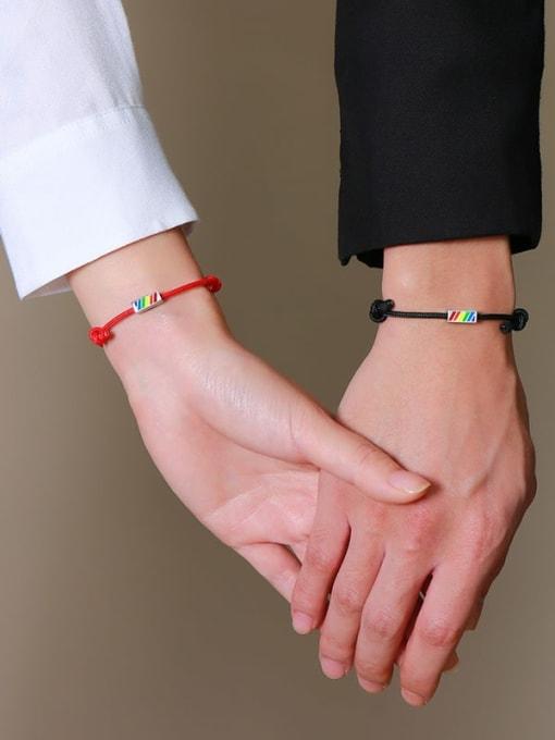 CONG Stainless steel Enamel Geometric Minimalist Woven Bracelet 2