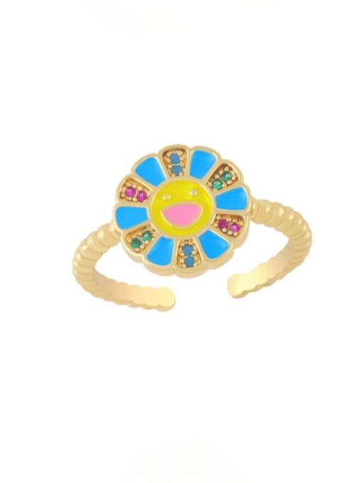 blue Brass Enamel Smiley Flower Minimalist Band Ring