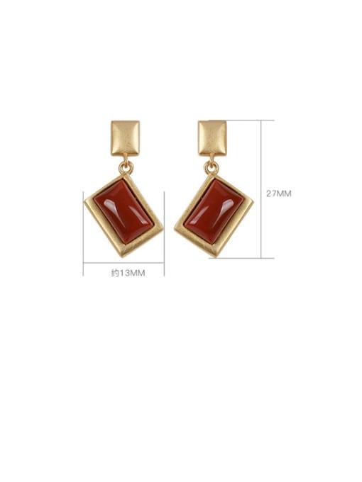 DEER 925 Sterling Silver Carnelian Geometric Vintage Drop Earring 3