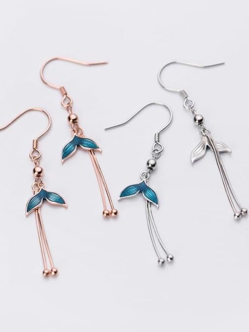 Rosh 925 Sterling Silver Enamel Tassel Minimalist Hook Earring 2