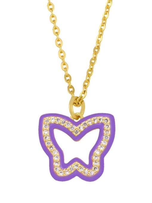 purple Brass Cubic Zirconia Hollow Butterfly Hip Hop Necklace