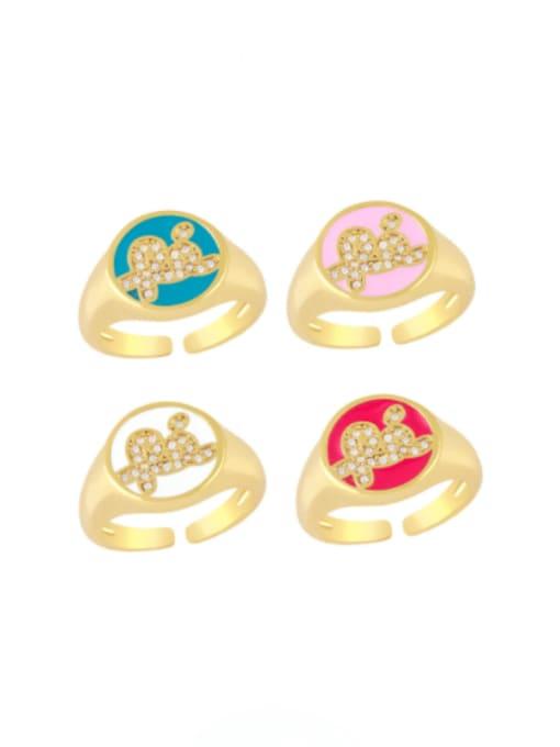 CC Brass Enamel Letter Minimalist Band Ring 0