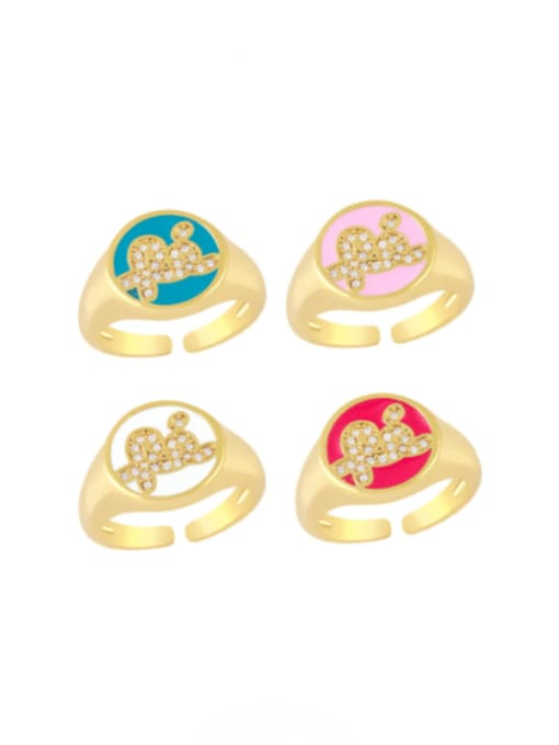 CC Brass Enamel Letter Minimalist Band Ring