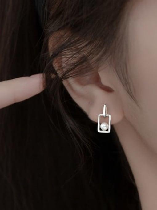 Rosh 925 Sterling Silver Imitation Pearl Geometric Minimalist Drop Earring 1