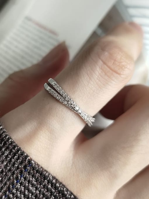 Boomer Cat 925 Sterling Silver Cubic Zirconia Cross Minimalist Stackable Ring 1