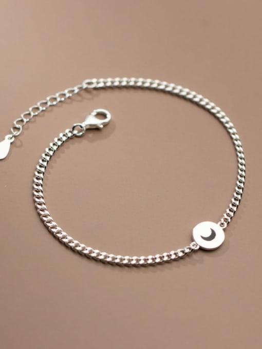 Rosh 925 Sterling Silver Star  Moon Vintage Link Bracelet 0