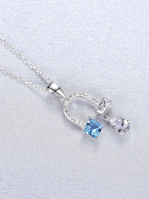 CCUI 925 Sterling Silver Cubic Zirconia Flower Dainty Necklace 2