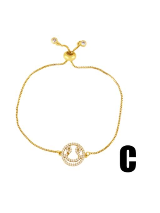 C Brass Cubic Zirconia Religious Vintage Link Bracelet