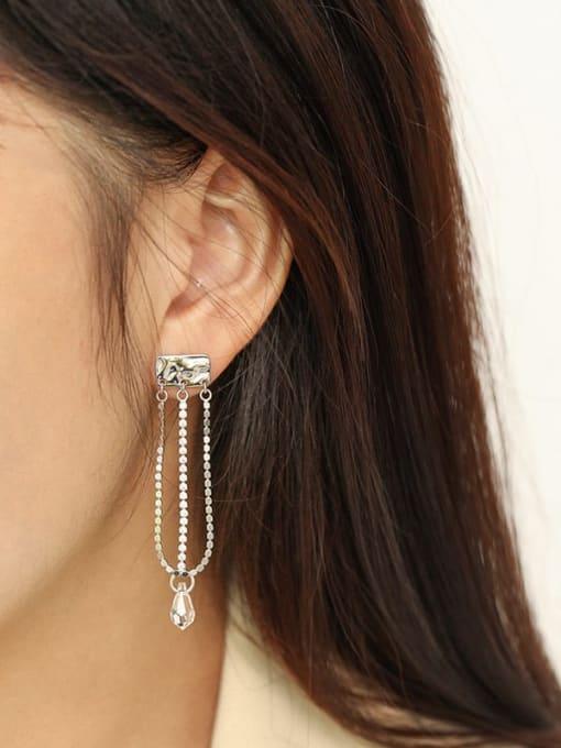 Dak Phoenix 925 Sterling Silver Cubic Zirconia Tassel Minimalist Drop Earring 2