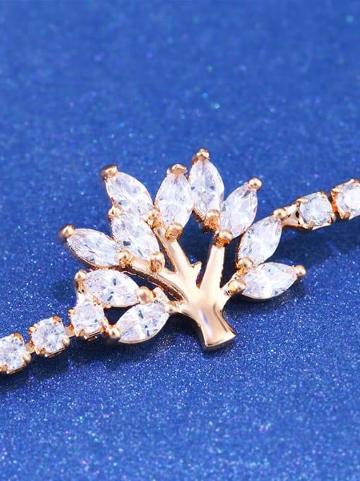 CC Brass Cubic Zirconia Tree Minimalist Adjustable Bracelet 3