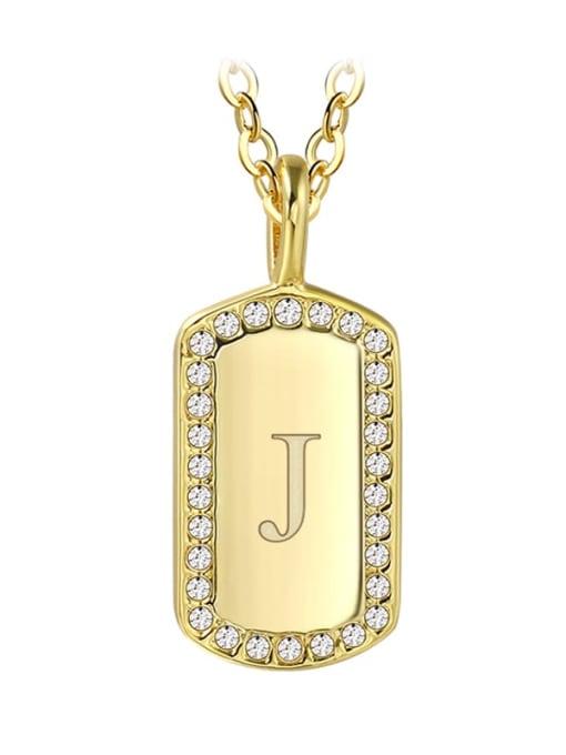 Gold Letter  J Brass Rhinestone Letter Minimalist Necklace