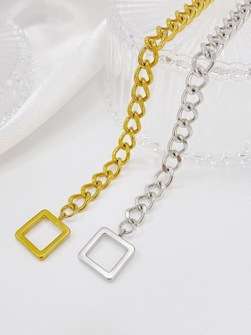 Open Sky Titanium Steel Hollow Geometric Chain Vintage Link Bracelet 3
