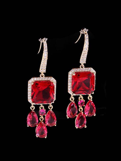 Red Brass Cubic Zirconia Geometric Luxury Hook Earring