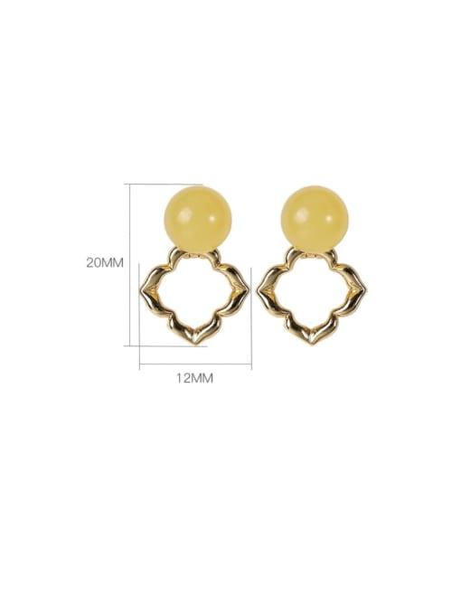 DEER 925 Sterling Silver Amber Flower Cute Stud Earring 3