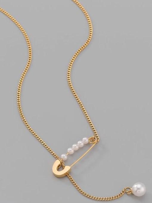 A TEEM Titanium Steel Imitation Pearl Geometric Minimalist Lariat Necklace 3