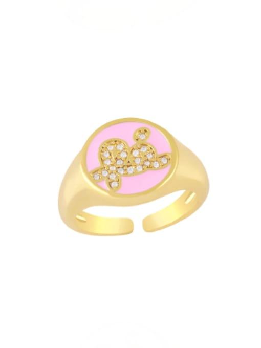 pink Brass Enamel Letter Minimalist Band Ring