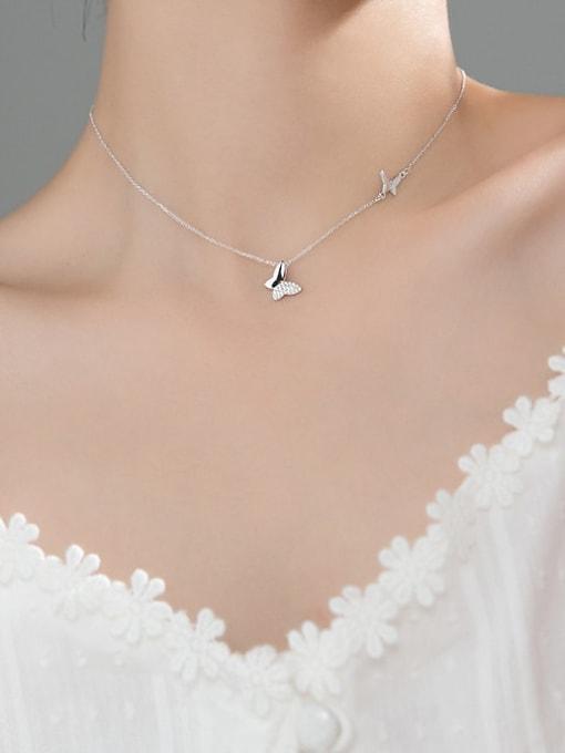 Rosh 925 Sterling Silver Rhinestone Butterfly Minimalist Necklace 2