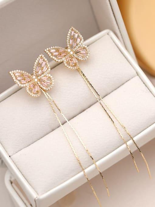 Gold powder zirconium Brass Cubic Zirconia Butterfly Trend Threader Earring