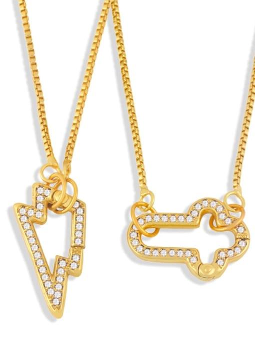 CC Brass Cubic Zirconia Irregular Vintage Necklace