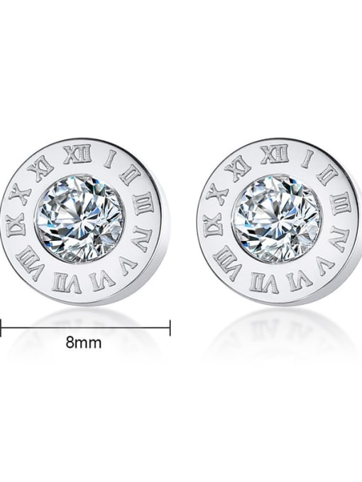 CONG Stainless steel Rhinestone Round Minimalist Stud Earring 2