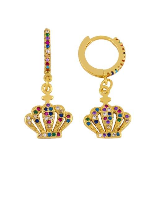 CC Brass Cubic Zirconia Crown Vintage Huggie Earring 2