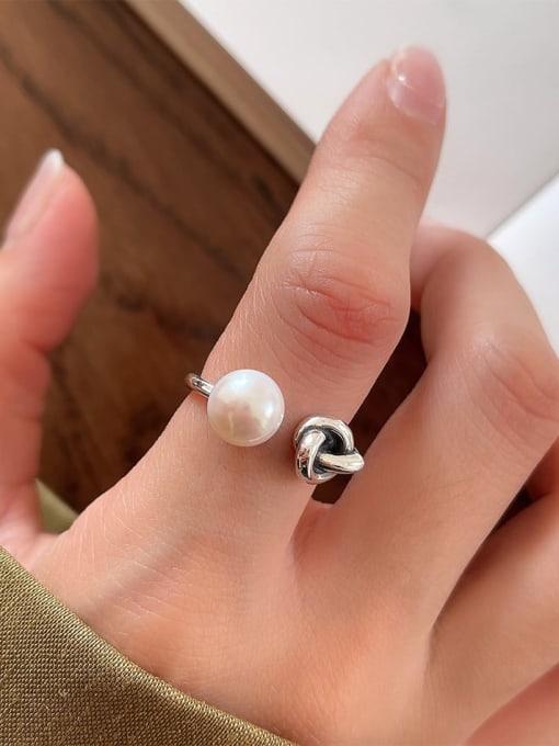 Pearl ring j65 3.4g 925 Sterling Silver Carnelian Irregular Vintage Band Ring