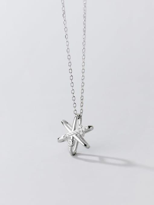 Rosh 925 Sterling Silver Cubic Zirconia Star Minimalist Necklace 2