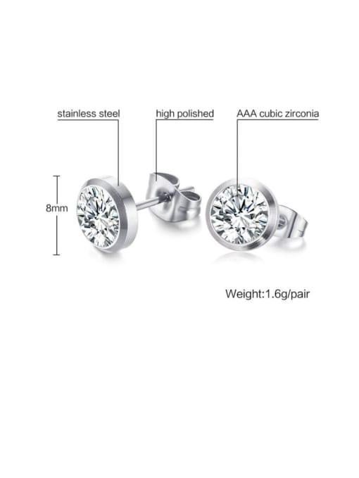 CONG Titanium Steel Rhinestone Geometric Minimalist Stud Earring 2