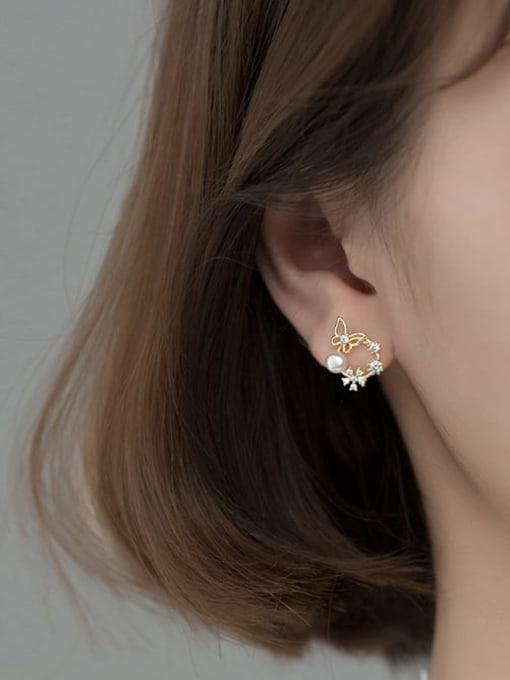 Rosh 925 Sterling Silver Rhinestone Flower Dainty Stud Earring 1