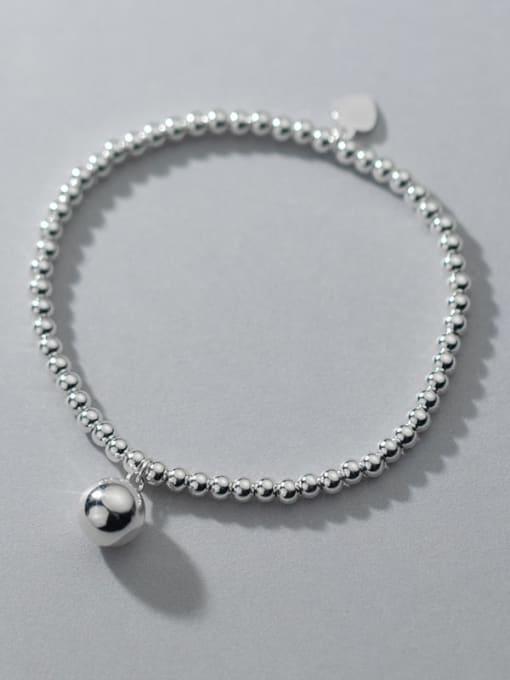 Rosh 925 Sterling Silver Bead Smiley Minimalist Beaded Bracelet