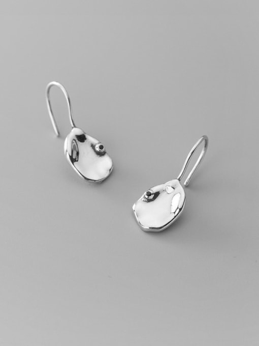 Rosh 925 Sterling Silver Smooth Geometric Minimalist Hook Earring 2