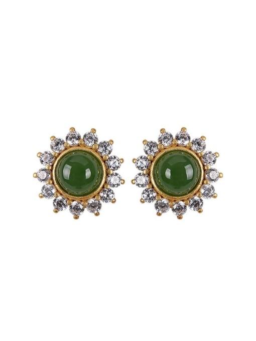 DEER 925 Sterling Silver Jade Flower Cute Stud Earring 4
