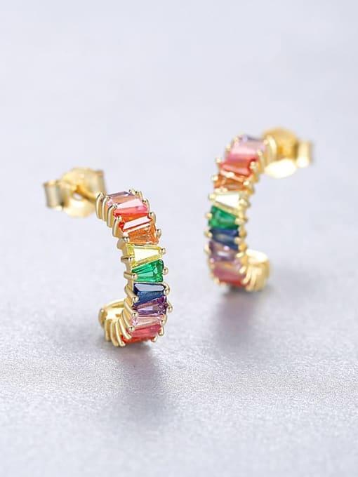 18K 18F07 925 Sterling Silver Cubic Zirconia Geometric Dainty Stud Earring